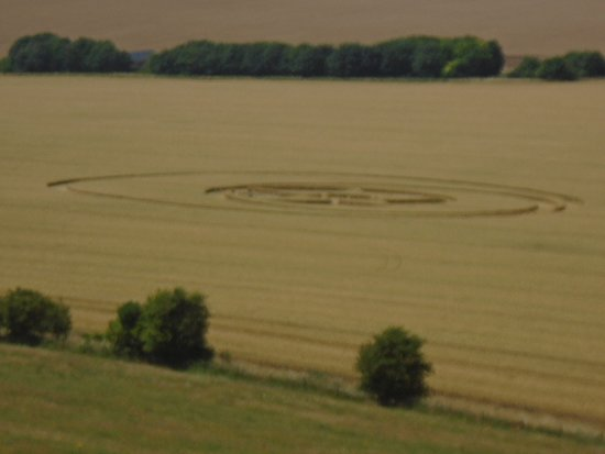 Broad Hinton, UK: Crop circle seen from the white horse