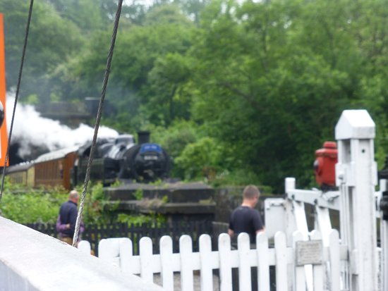 Grosmont, UK: THe train is coming