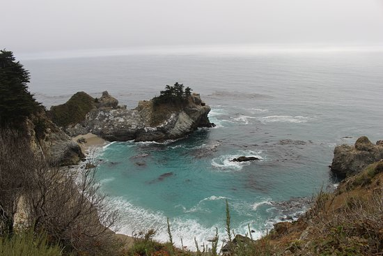 McWay Falls: I should have moved more to the right, but couldn't because the trail was blocked off!