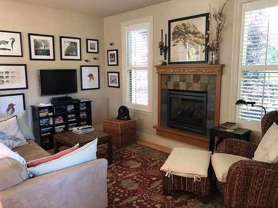 Tomales, CA: Living room at AppleGarden Cottage