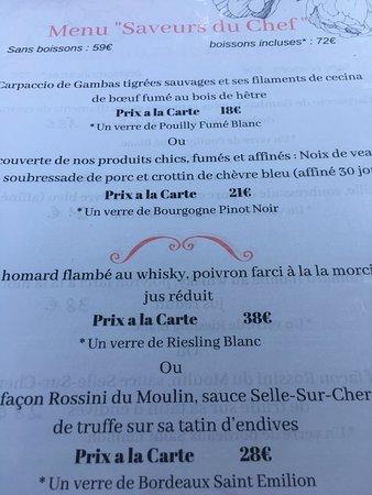 Nouan-le-Fuzelier, France: menu1