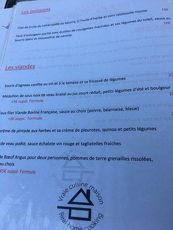 Nouan-le-Fuzelier, France: menu3