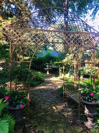 Kingston, RI: Entrance to the magical gardens, with a gazebo framing the entrance fountain view.