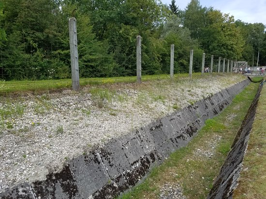 Dachau: Trench, electric fence, barbed wire, kill line, etc. Horrible