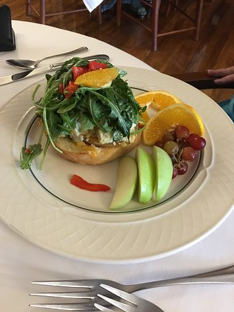 Glendale Springs, NC: Chicken Salad sandwich with fruit.