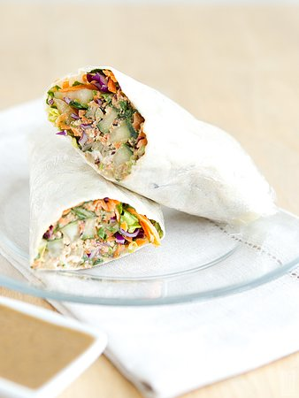 Thai Wrap with Ginger Tahini Dipping Sauce
