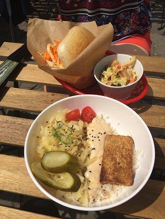 Tempeh vegan bowl and chicken sandwich