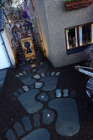 Dalgety Bay, UK: The Inspiration Runway: by jumping alternatively on the giant footsteps, a magic spell is trigge