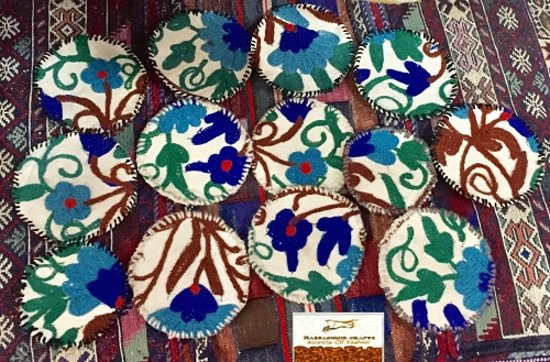 Raz Kashmir Crafts: Crewel-on-cotton coasters