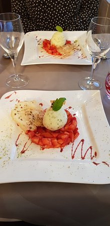Cleres, Francia: Dessert aux fraises et sorbet basilic citron