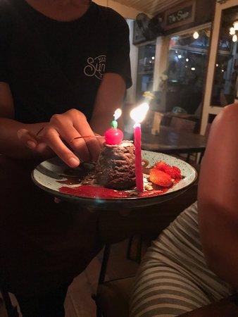 Incredible Volcano Birthday Cake Picture Of Sunny Cafe Canggu Tripadvisor Personalised Birthday Cards Veneteletsinfo