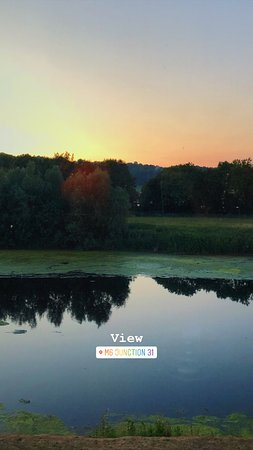 Samlesbury, UK: view at dusk from our bedroom