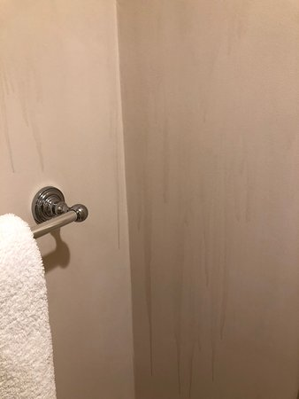 Rye Brook, NY: Poor ventilation in bathroom caused staining onto the bathroom walls.