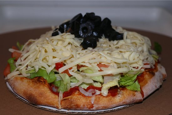 """Center Ossipee, NH: Mini (8"""") Taco Pizza all dressed up."""