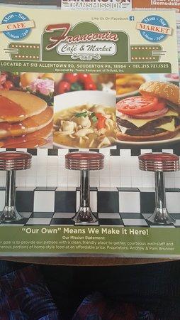Souderton, PA: menu cover