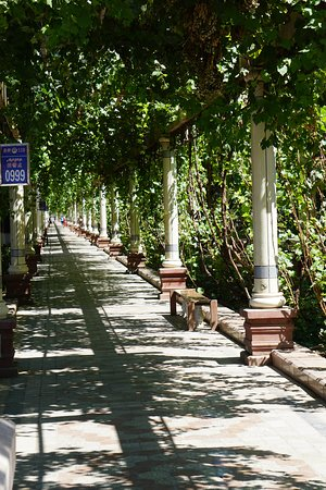 Turpan, China: Shady walkway