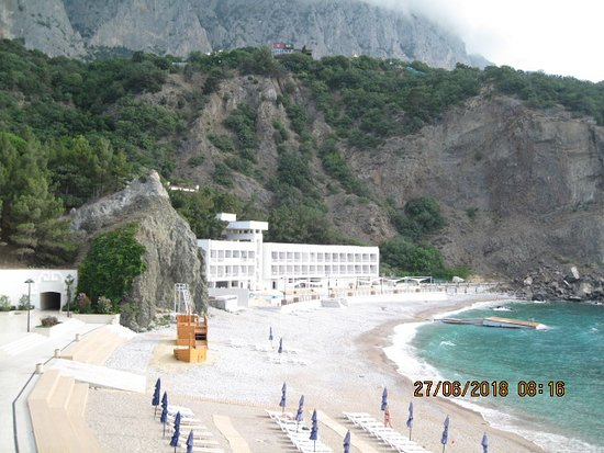 Foros: Вид на пляж и климатопавильон