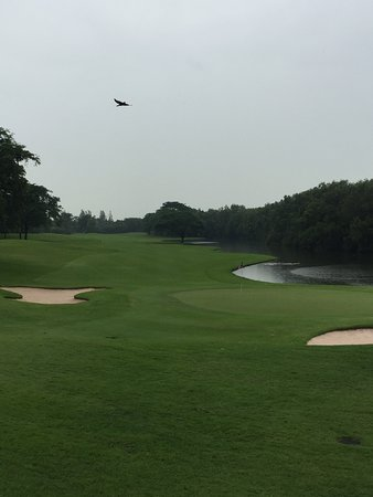Chachoengsao Province, Thailand: 18th green on a rainy day in July