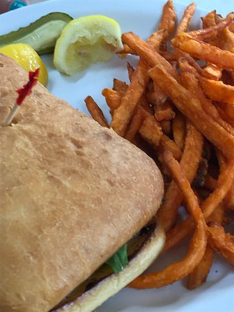 Howes Cave, NY: Salmon and Sweet Potato Fries