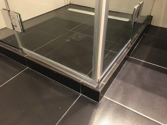 Best Western Regency Suites: O cara estuda 5 anos de Arquitetura para projetar um banheiro onde o box fica acima do piso...