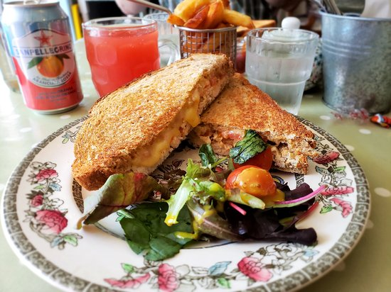 Tara's Tea Room: A tasty grilled sandwich with side salad