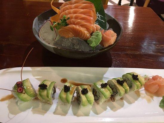 The Hashi: Salmon Sashimi and Caterpillar Roll