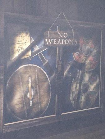 DreamWork's Tours: Shrek's Adventure! London: a sign on the wall