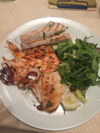 Pazza Marea: Mixed grilled fish- swordfish, cuttlefish prawns, and mixed salad