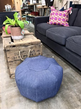 Effingham, IL: Everything from new (couch), to locally made (denim pouf) to vintage (typewriter crate).