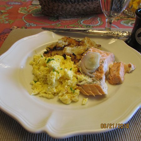 Breakfast, scrambled eggs, hash browns, salmon, delicious!