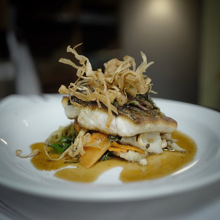 "Colleyville, TX: Chef's Special ""Pan Seared Sea Bass with Chili Basil Tamarind Reduction Sauce"""