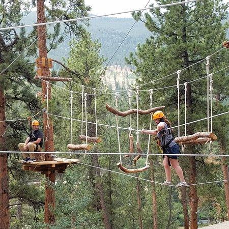 Bailey, Colorado: A couple testing the high wires