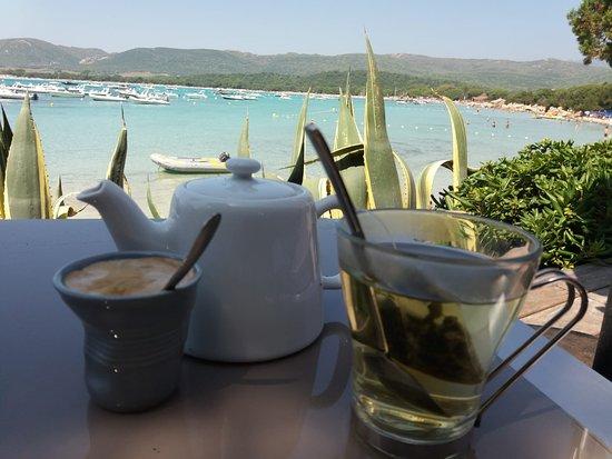Santa Giulia, France: 9h du matin au café à droite en arrivant sur la plage