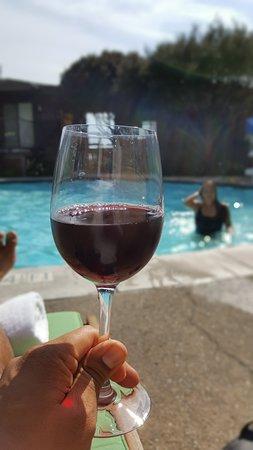 Hyatt Residence Club Carmel, Highlands Inn: enjoying the view and my wine