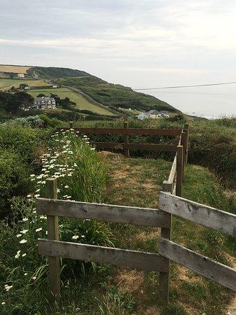 Widemouth Bay, UK: In lontanaza la stretta strada costiera che sale in collina