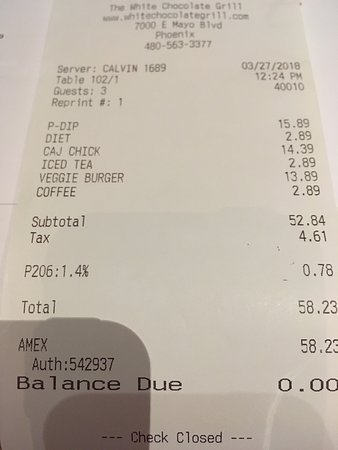 White Chocolate Grill: Receipt - note the fake tax P206 1.4%