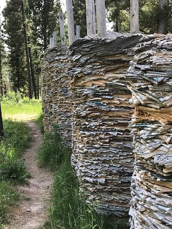 Blackfoot Pathways:Sculpture in the Wild: A close-up of Hill and Valley--allowing a better view of the stacked newspapers.