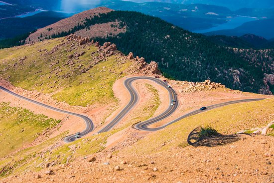 Pikes Peak: A view of road from on top.