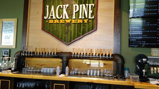 Baxter, MN: The bar at Jack Pine Brewery.