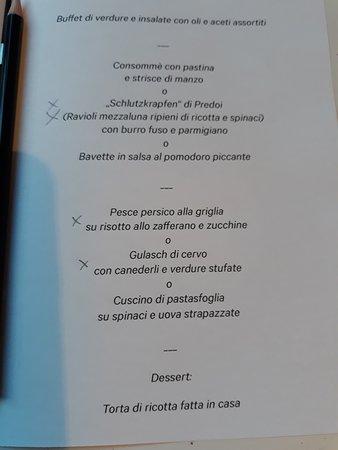 Menu Cuscini.Dinner Menu Picture Of Buehelwirt San Giacomo Tripadvisor