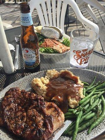 Kingston, ID: rib steak, beans and mashed potato