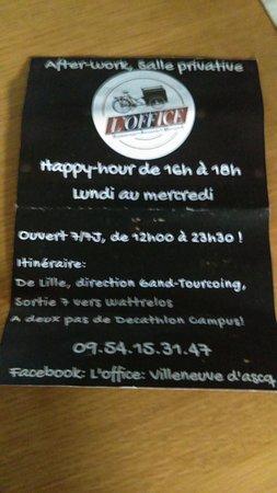 Loffice Carte De Visite Du Restaurant
