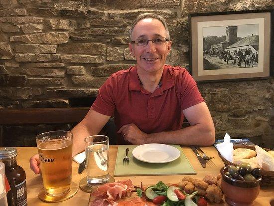 Nenthead, UK: Cider and sharing platter.