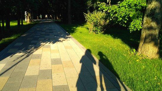 Park Garden of the Future: Наши тени на одной из дорожек парка