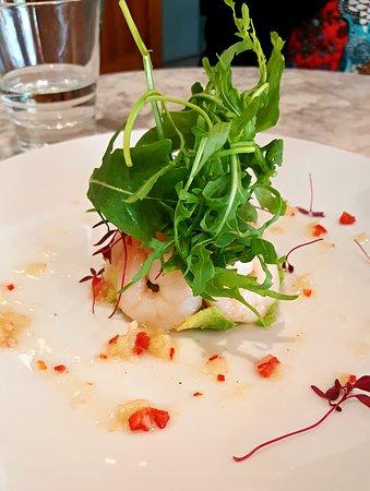 Coco Momo Kensington: The delicious shrimp and avocado salad with salsa.