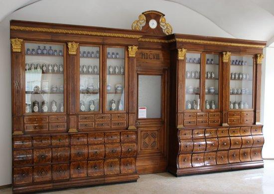 Museum Of Pharmecy   Red Crayfish Pharmacy: Beautiful Walnut (?) Pharmacy  Cabinet