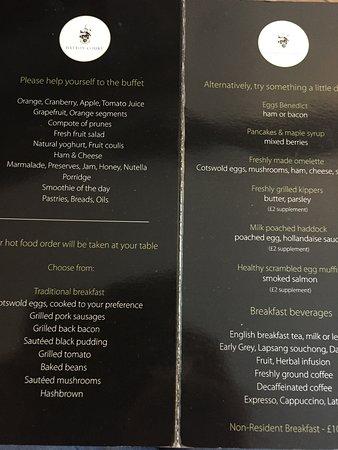 Hatton Court Hotel: Breakfast menu