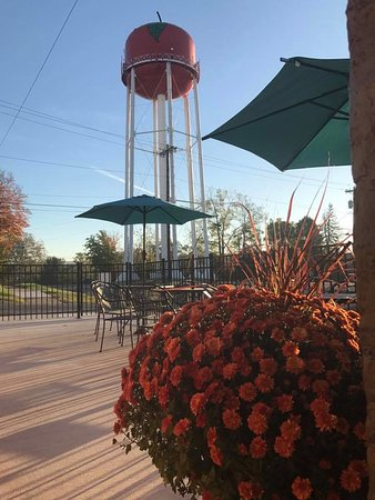 Jackson, OH: View of the Apple Tower from the patio at The Spot on Main coffee house/cafe.