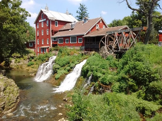 View of the outside of Clifton Mill Restaurant and Gift Shop from the cover bridge.
