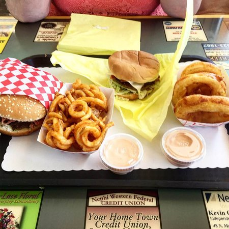 Nephi, UT: pastrami burges, curly fries and onion rings